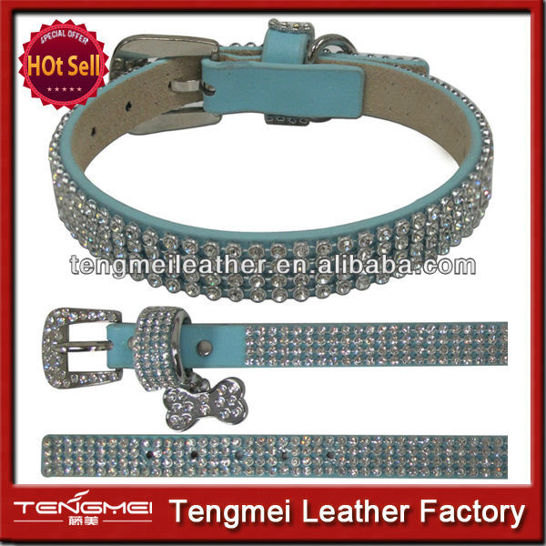 Fashon blue leather diamond wholesale dog collar for pets