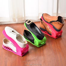 2017 most popular shoes storage rack cheap solid colors plastic convenient adjustable shoe rack organizer of stand shelf