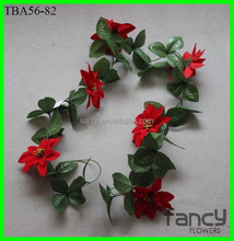 wholesale artificial poinsettia flowers garland 200cm tall with 8 flowers