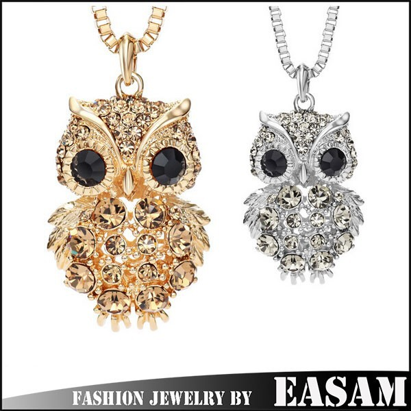 Rhinestone 14K Gold Plated Fashion Owl pendant Long Sweater Chain Necklaces for Women Jewelry Accessories 2015 New