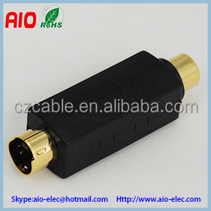 square black gold plated Mini Din 4 pin S Video male plug to RCA female jack vidoe converter adaptor