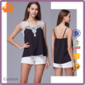 2017 New Fashion Lace Spaghetti Strap Backless Chiffon Lady Vest Blouse & Top for Women