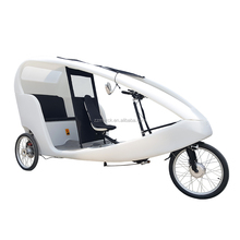 PE Cabin Pedal Assist 3 Wheel 2 Passengers Rental Use Velo Taxi Style Cargo Tricycle Electric Taxi Bike, Goods Transport Pedicab