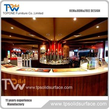 artificial marble stone curved bar counter for restaurant