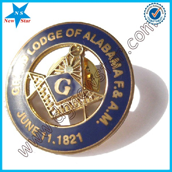 Custom Square & Compasses shape Masonic metal Lapel Pin