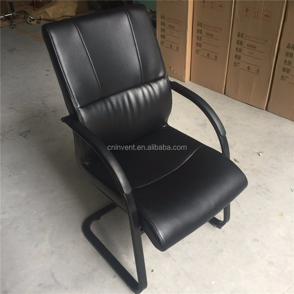 Black conference leather chair with frame