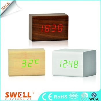 Cube small wood alarm clock , small led mdf digital clock with sound controlled