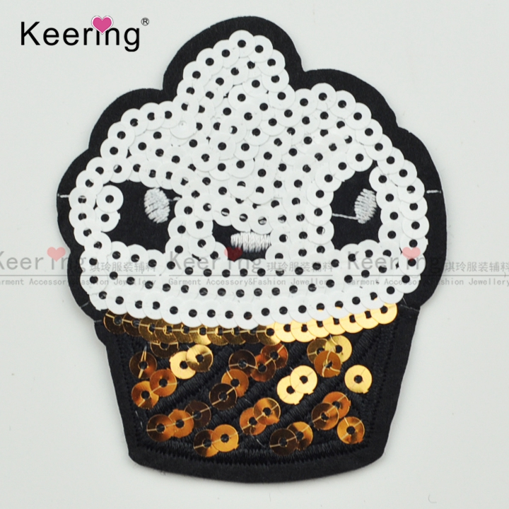 High quality 2017 patches ice cream sew on reversible sequin shirts patch WEFB-056