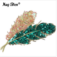 DIY cloth lace appliques green leaves fabric sequins patch