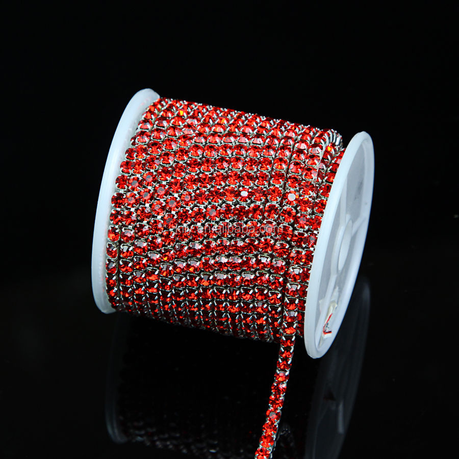 Crystal Glass Rhinestone Close Red Chain Trims Applique/crystal cup chain