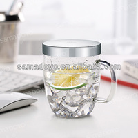 Samadoyo 360ml office drinking glass cups with filter/infuser/strainer