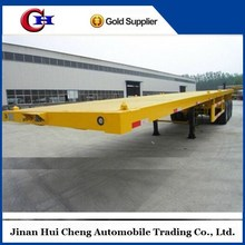High quality 3 axle semi trailer supplier flat bed container chassis, flat deck trailer