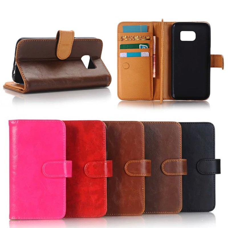 3 Pages Book Style Crazy Horse Leather Wallet Case for Samsung S7