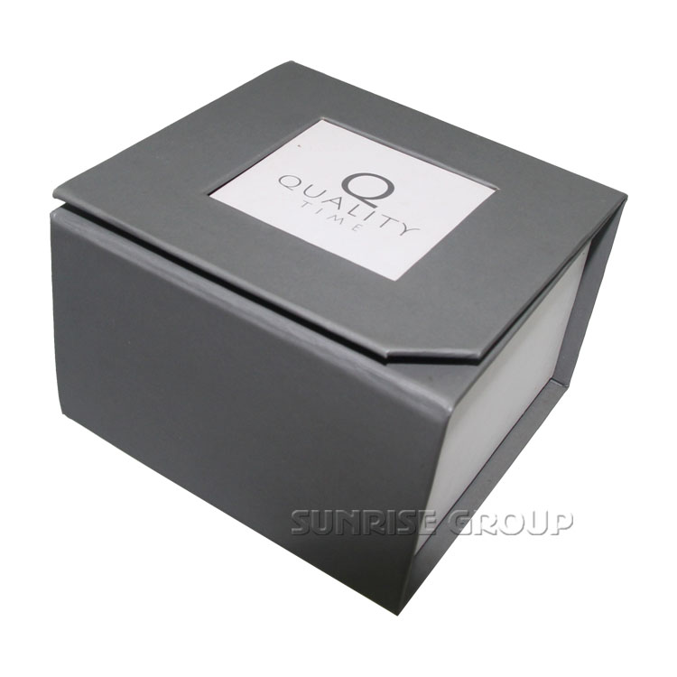 Sunrise Luxury Branded Custom Logo Printing Grey Window Open Jewelry Boxes
