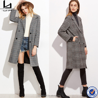 oem manufacturer long sleeve glen plaid double breasted knee length korea winter coats