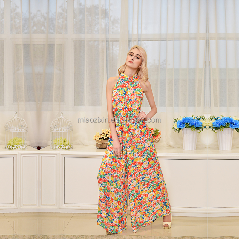 New arrival summer sleeveless culottes ice silk flower printed jumpsuits for women