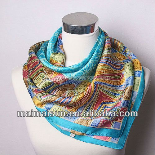 satin square fashion neck wear women triangle silk scarf