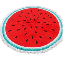 watermelon shaped printed large round beach towel with tassels