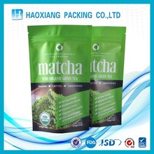 new products Green tea bag stand up pouch with zipper for food