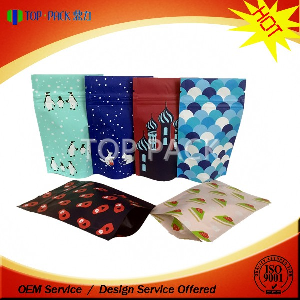 Custom logo matt finished stand up zipper aluminum foil packaging bags for dry beans