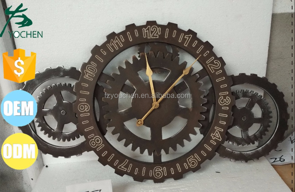 Industrial Gear Metal Wall Hanging Clock Indoor Decoration