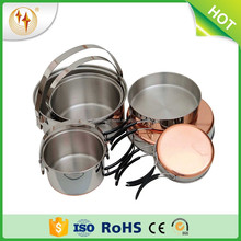 2017 New Outdoor Cooking Utensils Stainless Steel Copper Bottom Camping Cookset Mess Kit