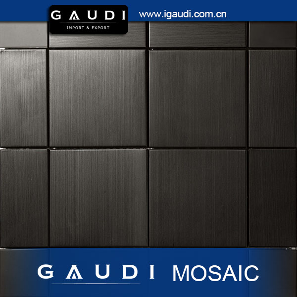 textured glossy metal over ceramic mosaic wall tile