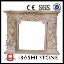 Angel Sculpture Marble Fireplace for Luxury Indoor Decoration