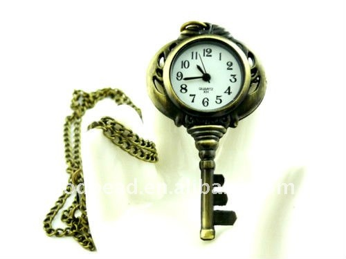 W336 wholesale Antique brass bronze pocket watch chain charm pendant watch necklace nickel free lead free