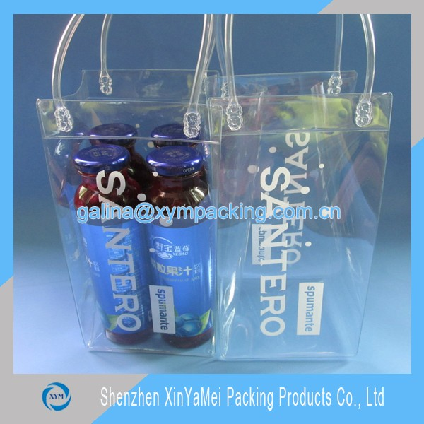 clear pvc zip bag for 6 pack canned beer promotion