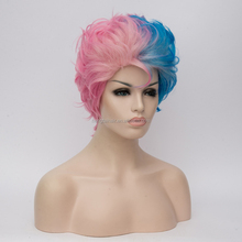 Men's Curly Short Hair Synthetic Wigs For Cosplay High Temperature Fiber Pink Blue Patchwork