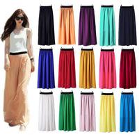 Women Double Layer Chiffon Pleated Long Maxi Elastic Skirt