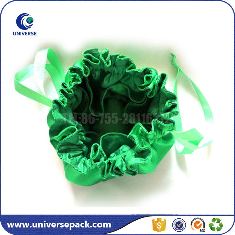 Fashion Green Plain drawstring satin makeup bags for women