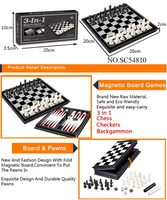 Chess Checkers Backgammon magnetic game for adult