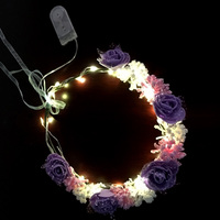 Wedding LED Candle Battery Artificial Rose flower Garland
