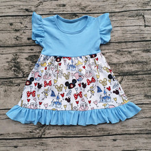 2017New Design Little Girls Cotton Summer Dresses Baby Fashion Printing Dress Kids Frock Designs Pictures