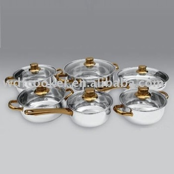 12pcs stainless steel gold-plate cookware sets