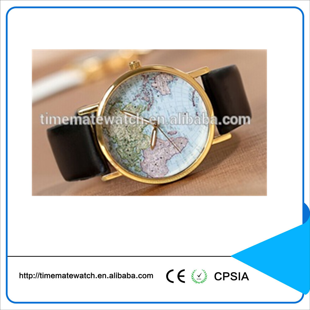 Leather bracelet quartz stainless steel back watch with world map