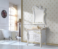 French Style Cream Solid Wood Bathroom Vanity Made In China