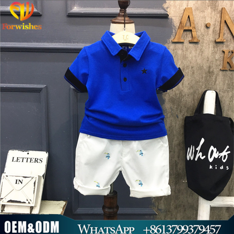 Fashion clothing 2017 child boutique outfits polo shirt short pants clothes set www.alibaba.com.cn