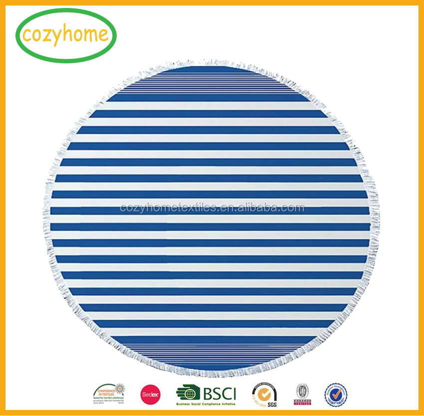2017 Hot Sale Custom Round Beach Towels With Tassel, Turkish Round Beach Towel 100% Cotton Round Beach Blanket