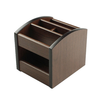OEM supply 360 degree office MDF square wood pen rack