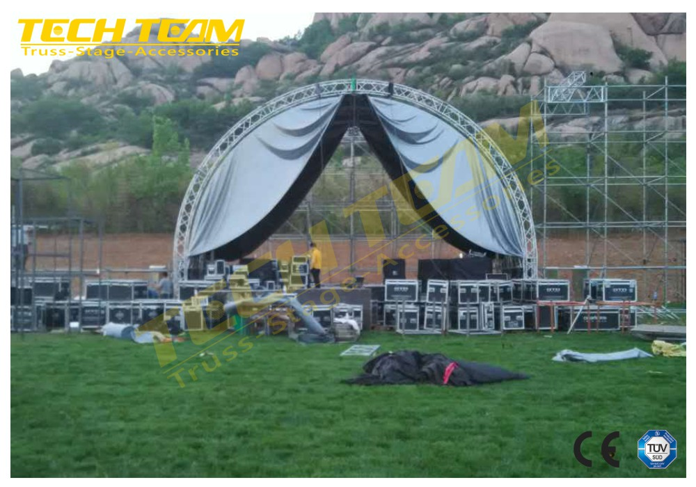 TUV Certificate China Curved Semi Aluminum Truss With Rood Tent