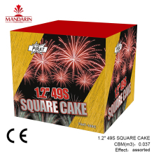 "1.2""49 Shots Square Consumer Cake Fireworks CE mark SQUARE CAKE with special effects"