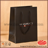 A4 SIZE Black colored shopping gift paper bag with logo printing