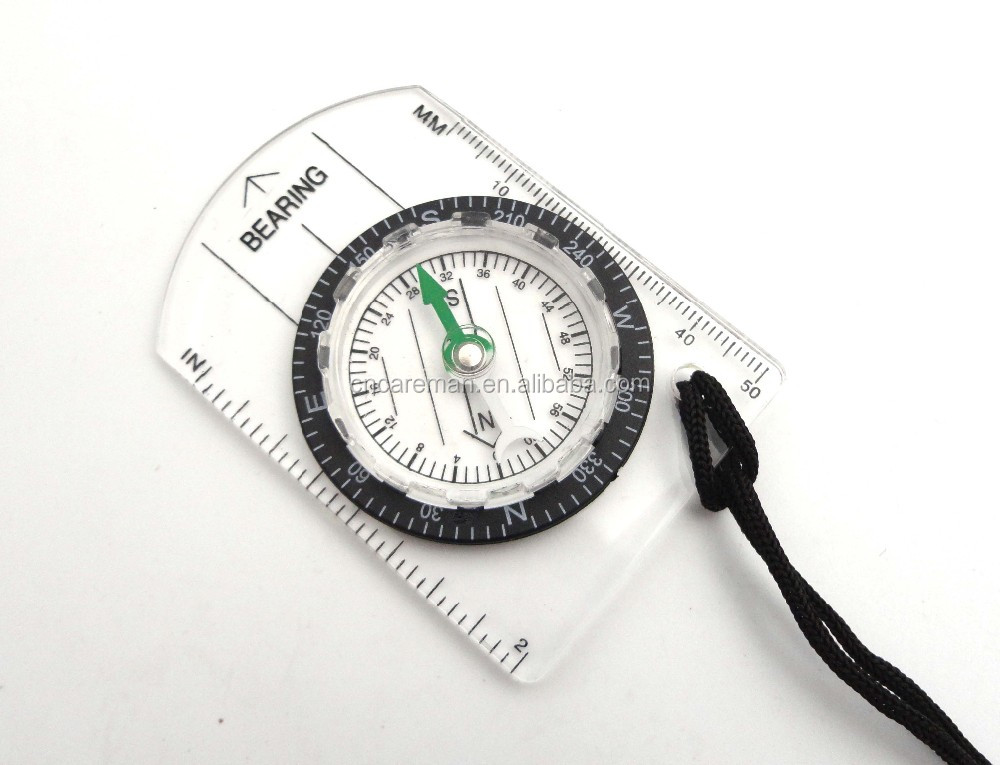 Mini Acrylic Baseplate Compass with Ruler and Lanyard, Compact Map Scale Measure Compass OEM Orders Accepted