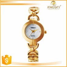 2016 kingsky 2390# china supplier fashion diamond dial chain band vogue 18k gold fancy bracelet wrist watch