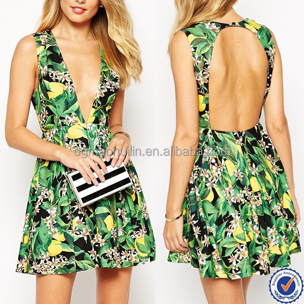 wholesale women clothing pakistani new style dresses floral jungle print open back dress ladies summer noble wear