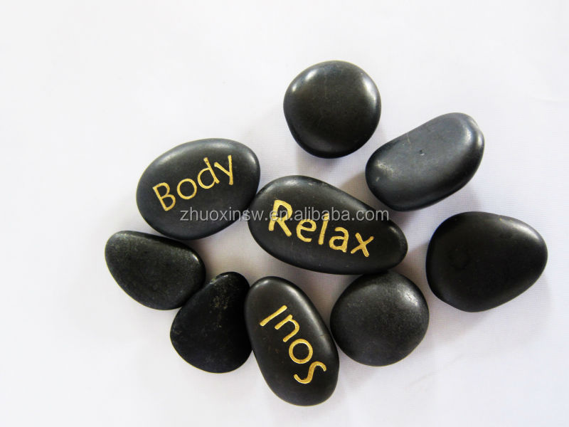 9pcs engraved natural shape massage stone spa hot rock