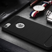 Carbon Fiber Brush Phone Case TPU Bumper Cover Case For iphone 7